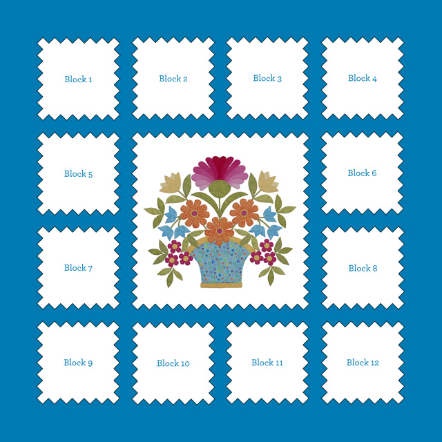 Announcing Florabunda: Block of the Month - One Piece at a Time : free quilt block of the month - Adamdwight.com