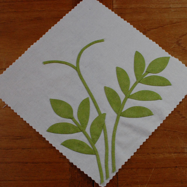 Step 19-applique leaves and stems