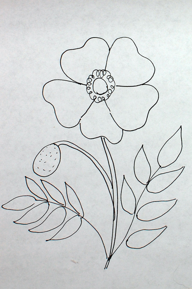 Dimensional flowers poppies one piece at a time step 1 drawing mightylinksfo