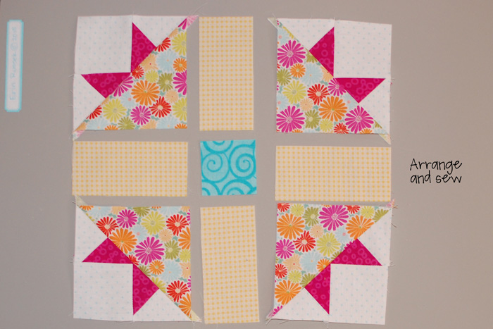 Be Happy pieced block 9 step 5